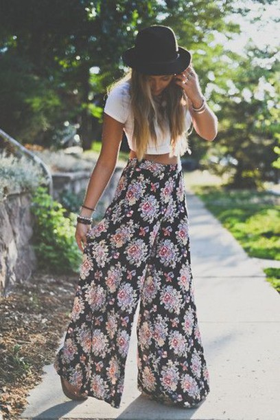 skirt floral pants flowy pants sheer boho indie pants hippie boho pants pants boho pants hippie syle pants multicolor floral spring palazzo pants crop hat