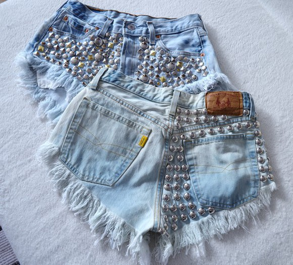 high waisted shorts jeans studs levi ripped shorts acid wash