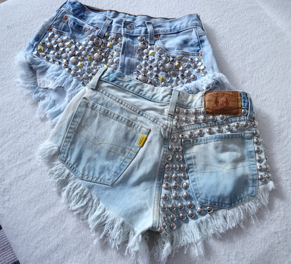 jeans studs acid wash high waisted ripped shorts levi's shorts