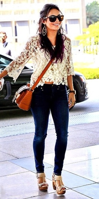 blouse vanessa hudgens floral jeans wedges cross body shoes bag
