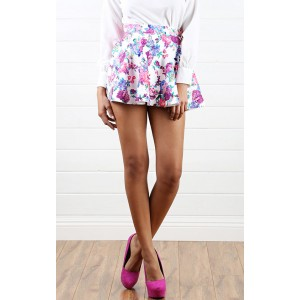 S5559 White Flower Blossom Scuba Skater Skirt and Shop Apparel at MakeMeChic.com