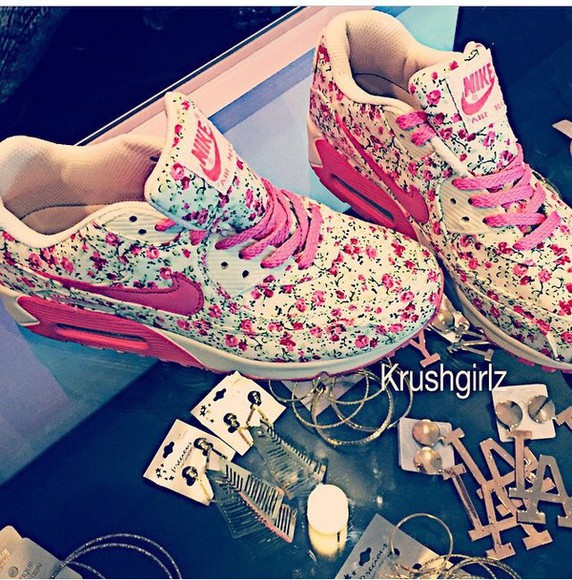 shoes pink floral nike air max