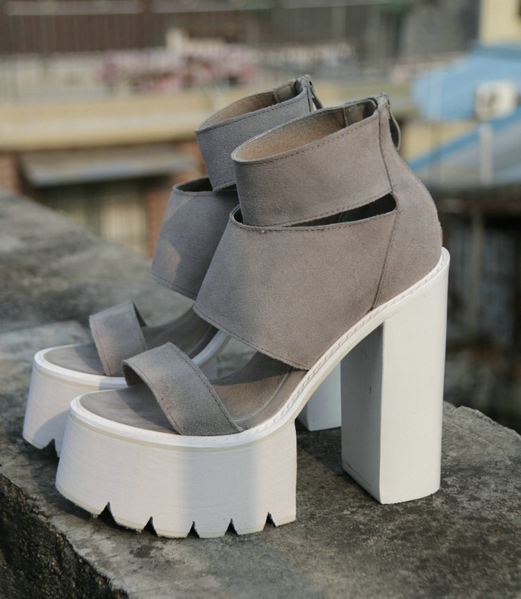 971c56d94592 Hot Selling Women Fashion Peep Toe Gray Suede Leather High Platform Sandals  Thick Heel Sandals Sexy ...