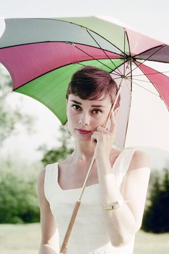 make-up audrey hepburn hairstyles white dress dress umbrella bracelets beautiful pretty brunette
