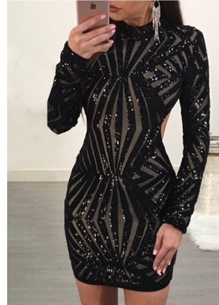 dress black dress short dress sparkly dress open back dresses