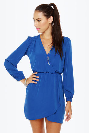 Cute Blue Dress - Wrap Dress - Long Sleeve Dress - $50.00