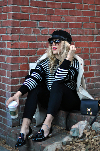 love maegan blogger sweater jeans sunglasses shorts coat bag shoes fisherman cap loafers striped sweater winter outfits
