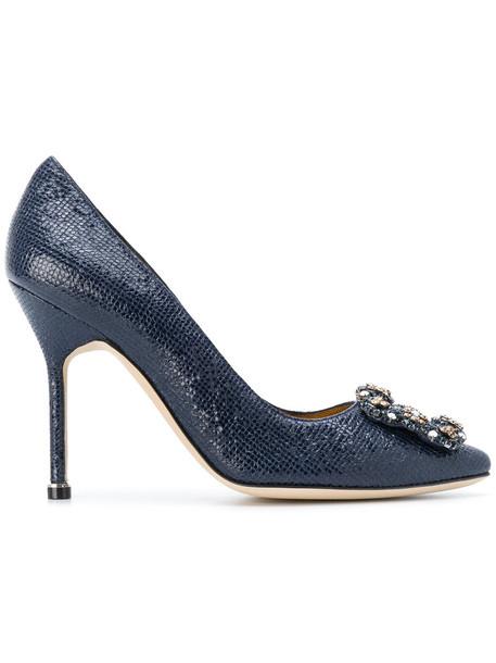Manolo Blahnik women pumps leather suede shoes