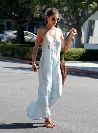 dress alessandra ambrosio streetstyle maxi dress summer outfits