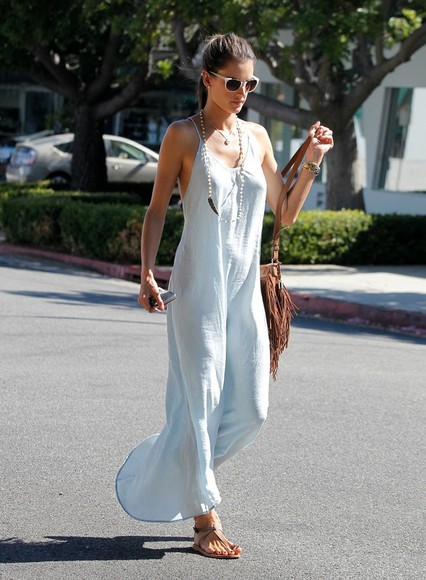 dress alessandra ambrosio streetstyle maxi dress summer outfits