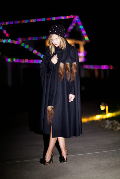 late afternoon blogger heels cape beanie navy dress shoes hat