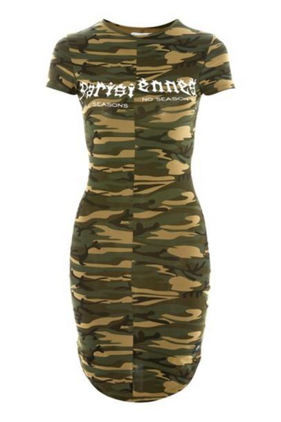 dress print dress camouflage print green