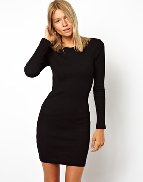 ASOS | ASOS Mini Ribbed Bodycon Dress With Long Sleeve at ASOS