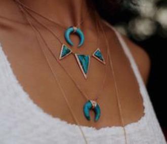 jewels blue stone gold chain necklace multi set boho bohemian necklaces bohemian