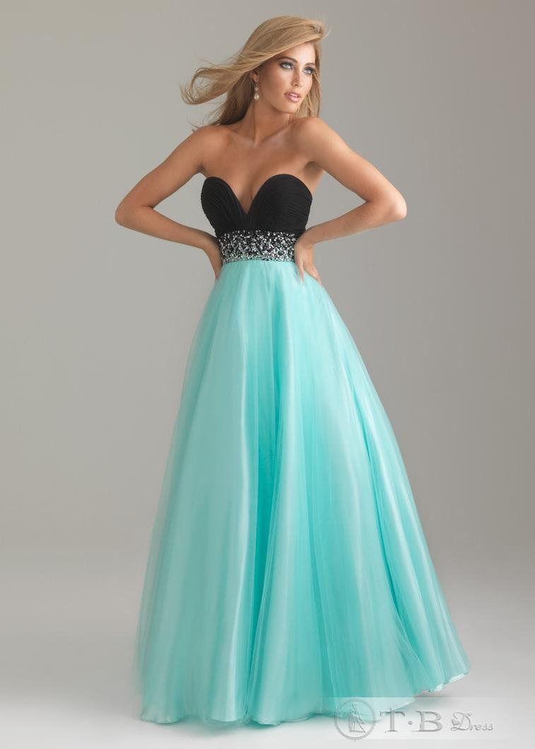 Attractive Blue Sweetheart Neckline Overlay Tulle Satin Beads Wasitline Prom Gowns (WDPD2012-027) [WDPD2012-027] - $140.99 :
