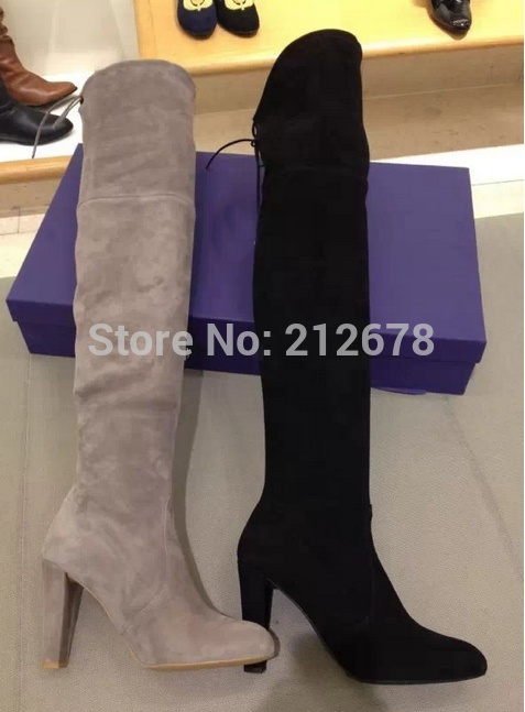 08b6f73fc4d Winter Highland Thigh high Boots Suede knee Boots Sexy Grey Black Beige Thigh  Long booty Lace up big size 42 women ...
