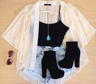 blouse white blouse blak high heels black crop top