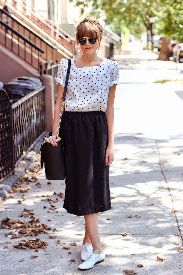 steffy's pros and cons blogger shoes sunglasses polka dots midi skirt