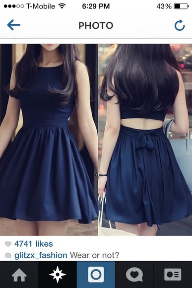 dress black navy blue dark cutout
