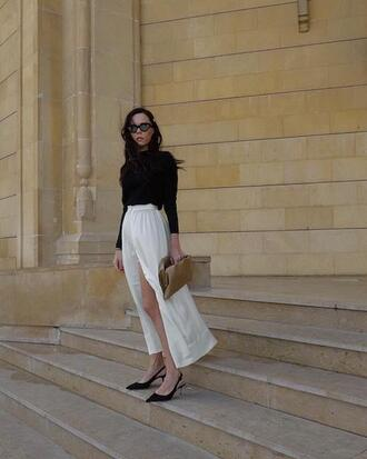 le fashion image blogger sunglasses skirt shoes white pants slingbacks spring dress