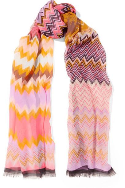 Missoni chiffon scarf silk pink