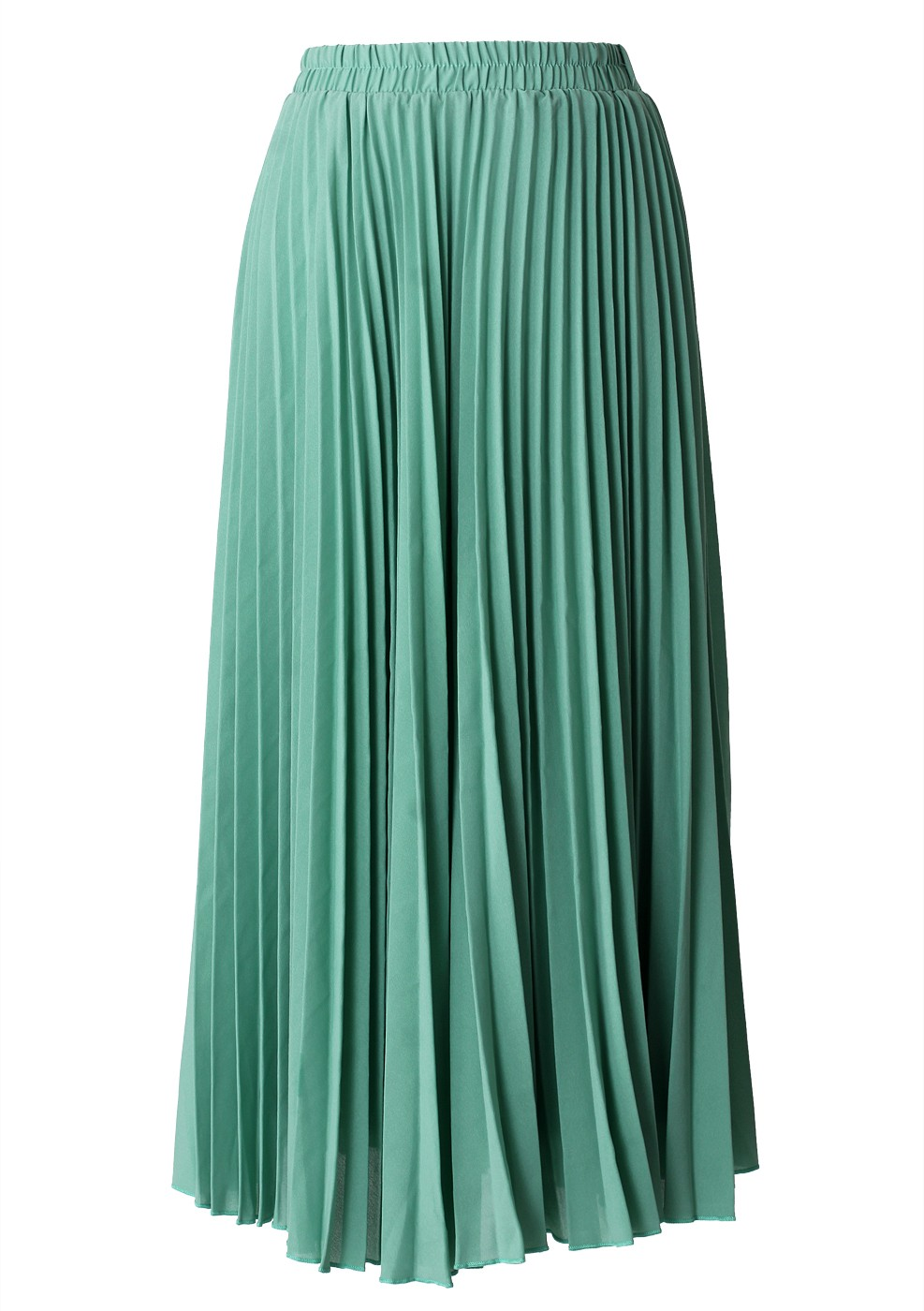 green pleated maxi skirt retro and unique fashion