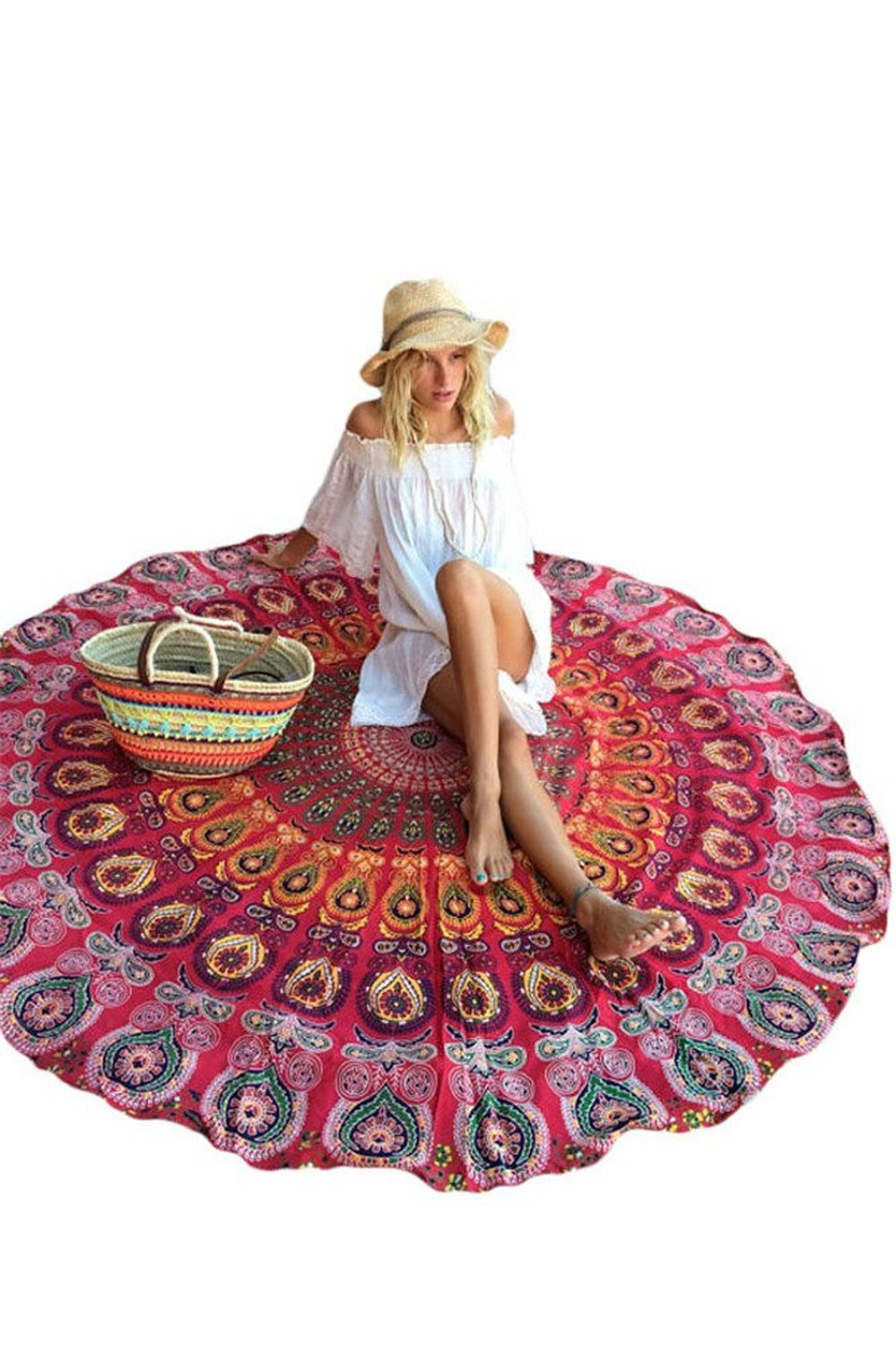 Cfanny Women's Indian Mandala Roundie Beach Throw Tapestry Round Yoga Mat, Red, One size at Amazon Women's Clothing store: