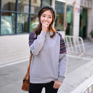 Knit-Trim Sweatshirt - CLICK | YESSTYLE