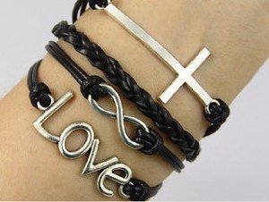 Amazon.com: vintage style black leather rope cross love letters infinity love bracelet: jewelry