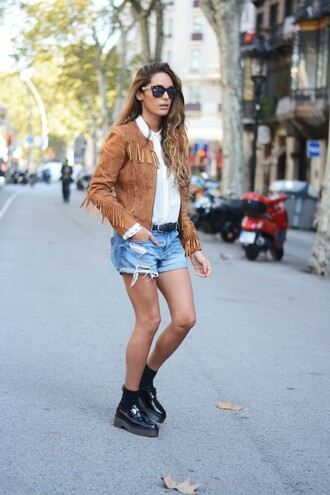 stella wants to die blogger jacket sunglasses brown fringes