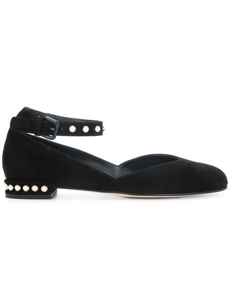 STUART WEITZMAN women pearl embellished leather suede black shoes