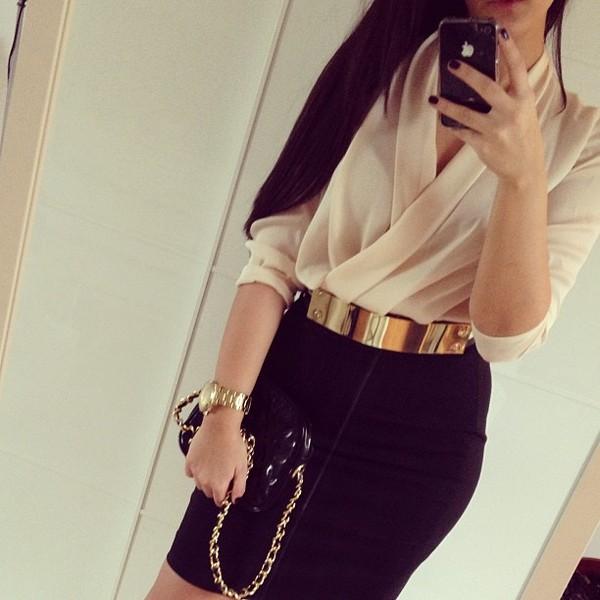 blouse pencil skirt belt outfit black pencil skirt