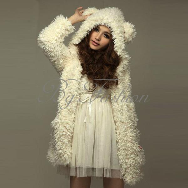 3Size Cute Fashion Winter Warm Jacket Bear Hooded Hoodie Women Girls Furry Coat | eBay