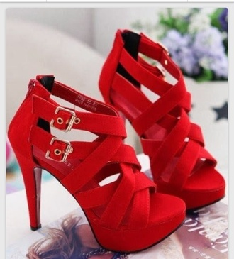 shoes homecoming buckled red heels criss cross gold buckle
