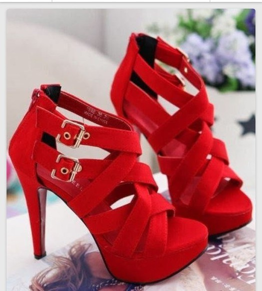 homecoming dress shoes buckled red heels criss cross gold buckle