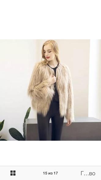 coat fur coat beige