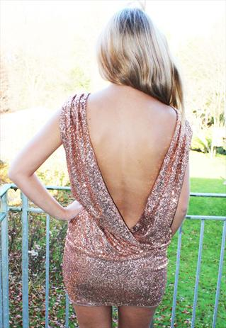 sequin open back backless slouch mini dress - Fashun - ASOS ...