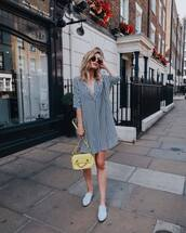 dress,shirt dress,shoes,handbag,stripes,sunglasses