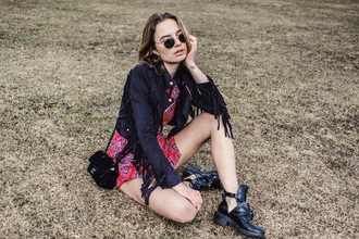 class is internal blogger romper bag leather jacket cut out ankle boots festival spring outfits