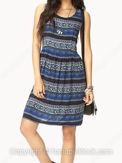 Blue Scoop Sleeveless Floral Print Dress - HandpickLook.com