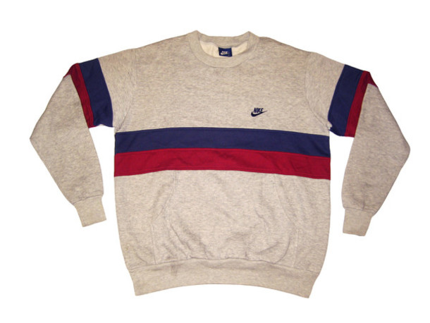 sweater nike white blue red vintage
