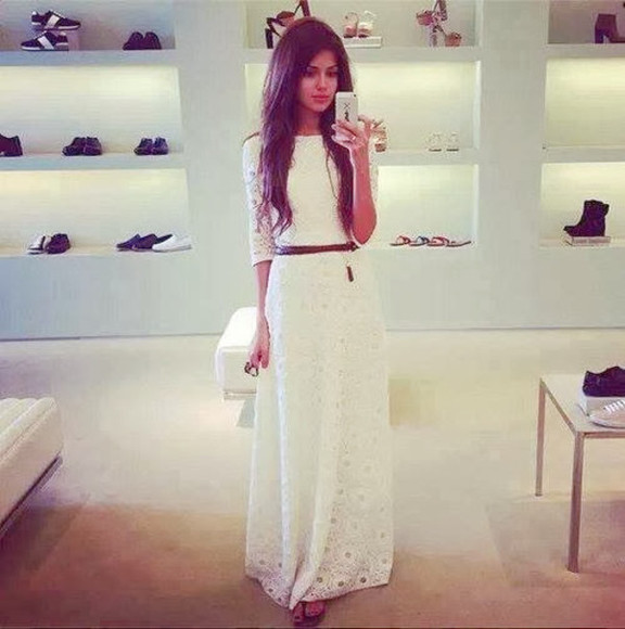 lace dress Belt white dress