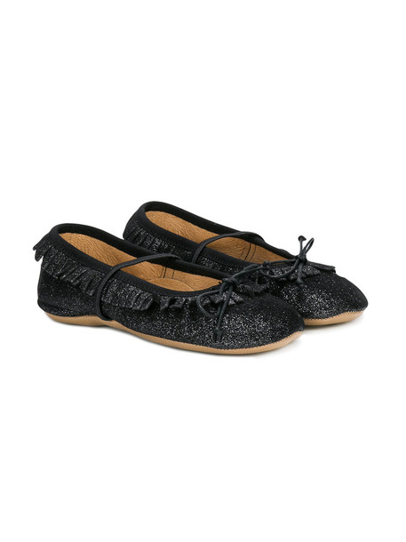 PePe pleated slippers leather suede black shoes