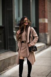 maria vizuete,mia mia mine,blogger,belt,coat,sweater,dress,shoes,bag,sunglasses,fall outfits,gucci belt,velvet over the knee boots,sweater dress