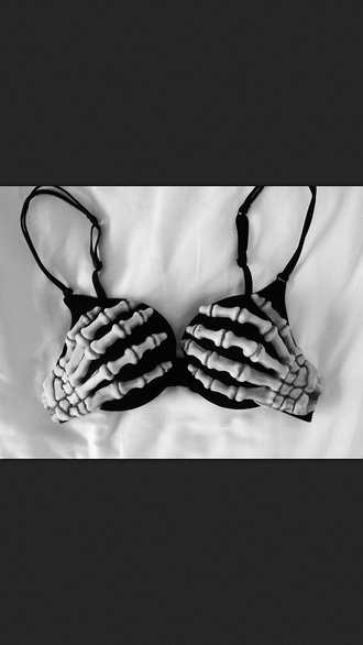 underwear bra black underwear skeleton hands