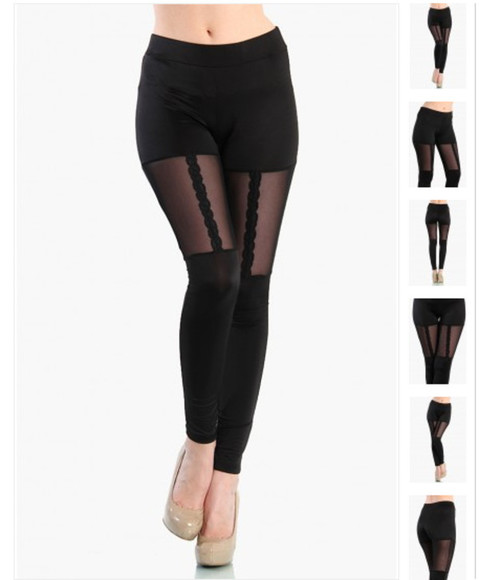 pants leggings garter lace garter leggings mesh black cute lace leggings