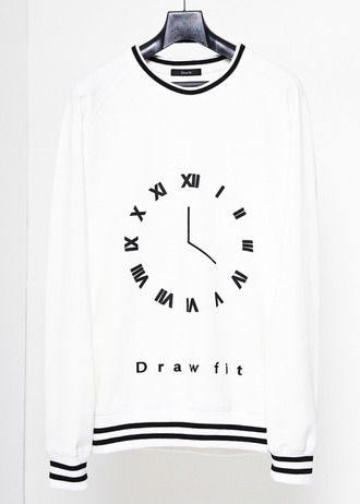 sweater long shirt long sweater black and white time clock symbol black collar unisex menswear