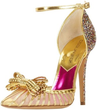 shoes gold glitter bow pointed toe dressy heels baby pink high heels ankle strap heels