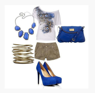 shirt top clothes blouse off the shoulder short sleeves peacock design necklace blue necklace bag purse bracelets heels high heels blue heels pumps high heel pumps shorts outfit peacock feathers
