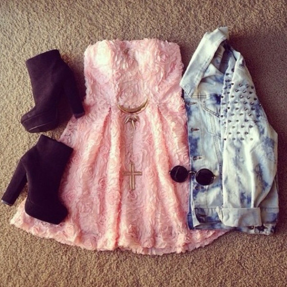 floral studs pink dress jacket cute ombre bleach